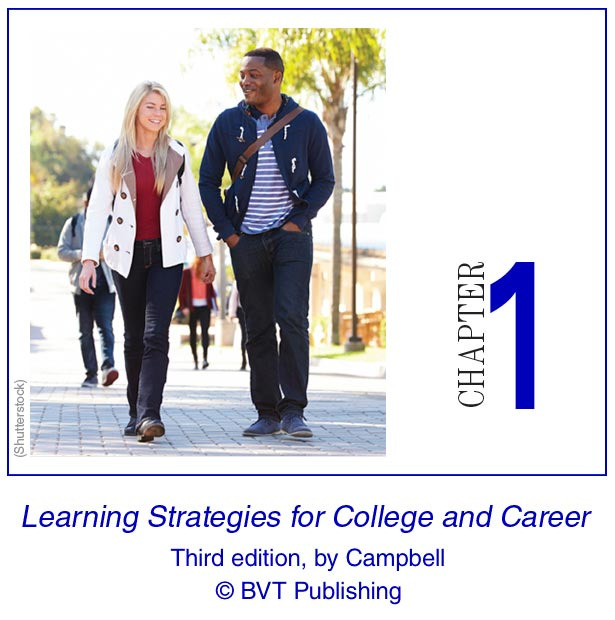 Chapter one of Learning Strategies for College and Career, third edition, by Campbell & Hettich, copyright BVT publishing.