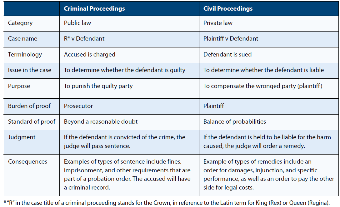 Differences between criminal and civil proceedings, such as style of case name, purpose of proceedings, and consequences of proceedings.