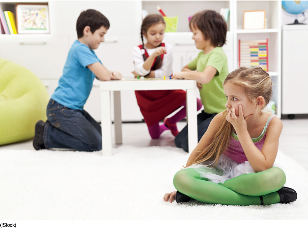 Photo of three children playing together and a fourth child sitting apart and alone.