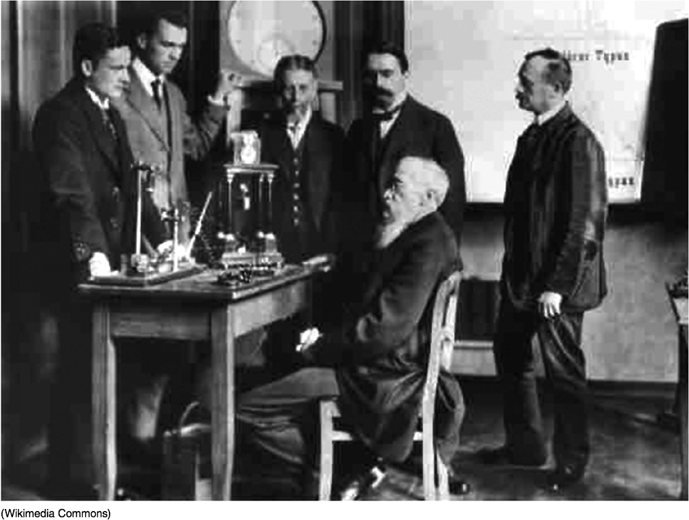 Photo of Wilhelm Wundt, sitting at a small desk, with several colleagues surrounding him. All are wearing suits and ties.