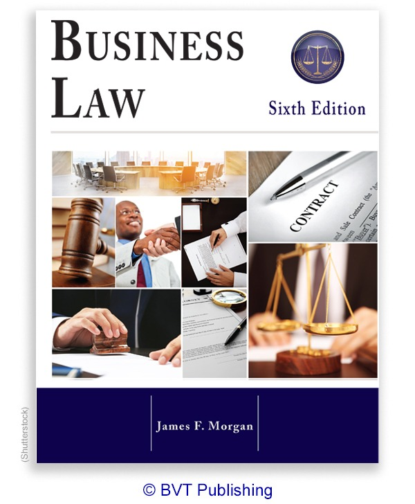 Cover for Business Law, sixth edition, by Morgan. Copyright B V T Publishing.