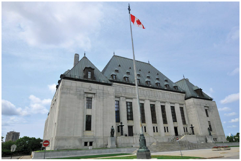The exterior of the Supreme Court of Canada building.