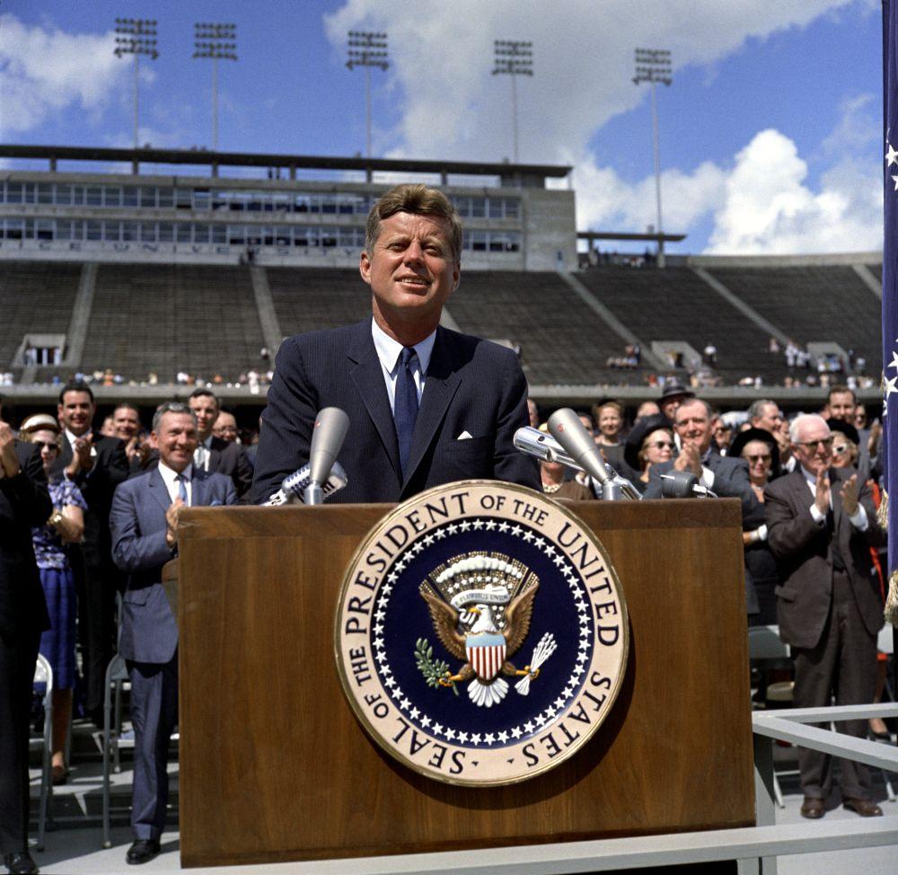 John F. Kennedy speaking at Rice University.