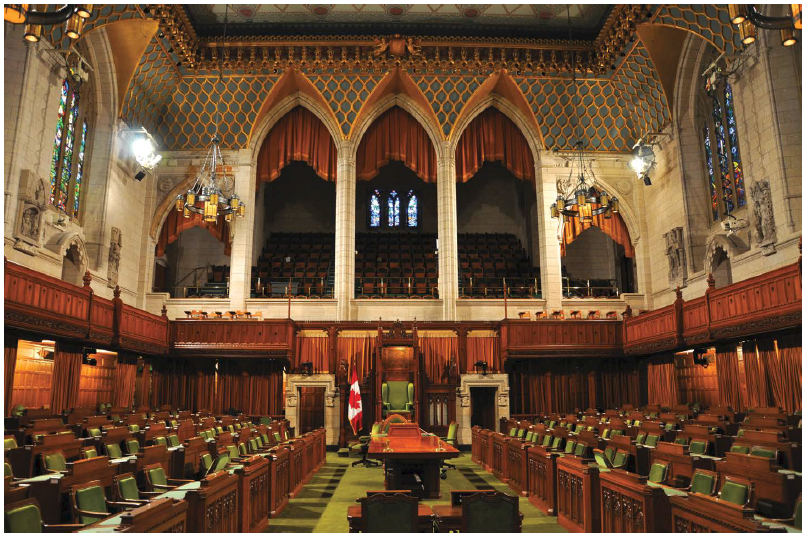 The interior of the House of Commons in Ottawa.